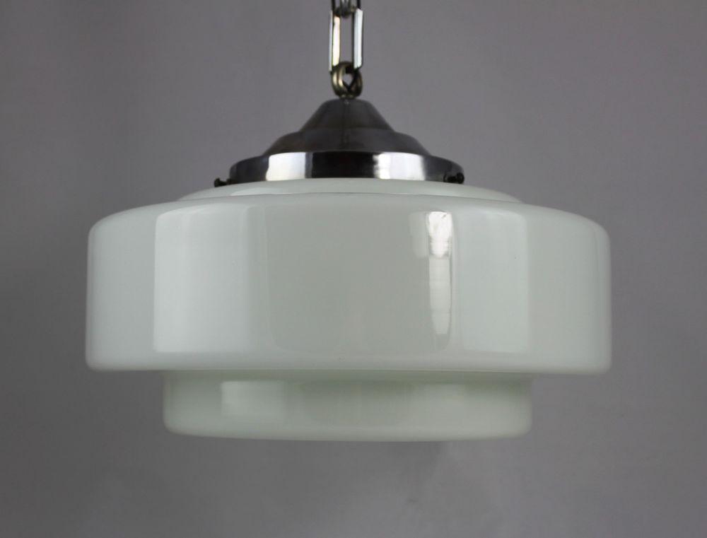 1 Von 2 Original Art Deco Lampe Hangelampe Getrepptes Opalglas Art Deco Lampen Hange Lampe Art Deco