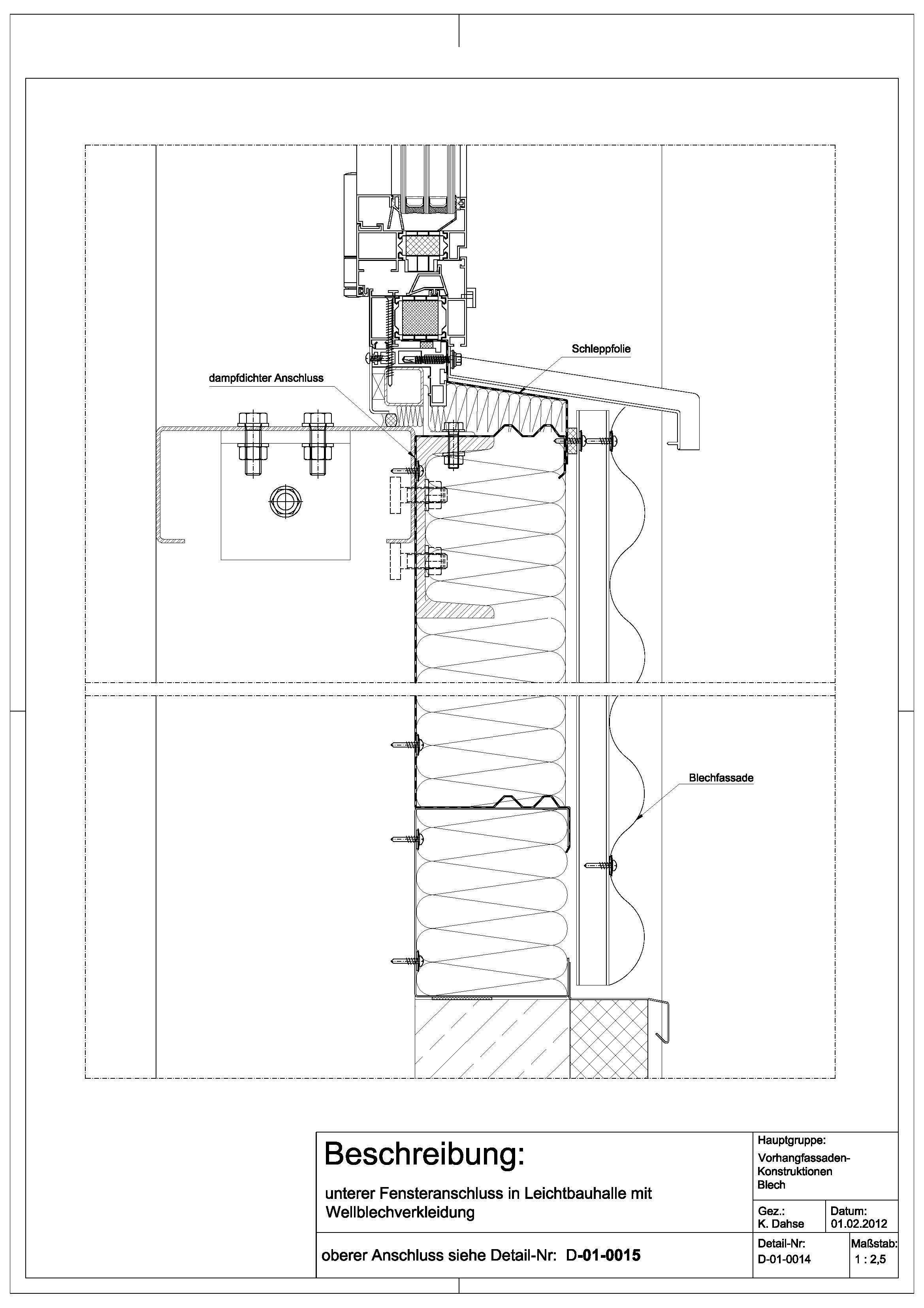 D010014 unterer Fensteranschluss in Leichtbauhalle mit