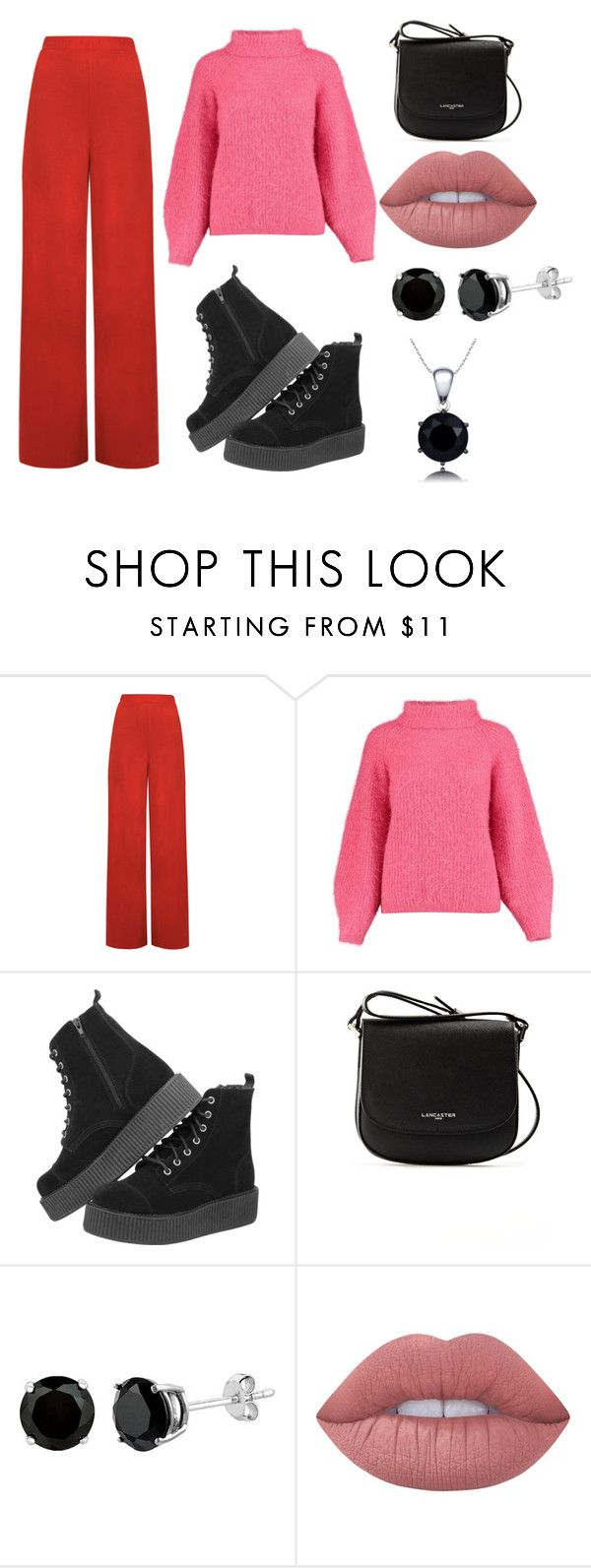 """""""Red with pink"""" by mariakarasik1995 ❤ liked on Polyvore featuring interior, interiors, interior design, home, home decor, interior decorating, WearAll, Lancaster, Lime Crime and colorchallenge"""