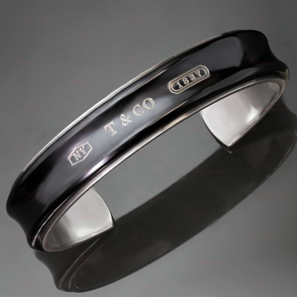 TIFFANY & CO. 1837 Midnight Titanium Silver Cuff Bangle Bracelet