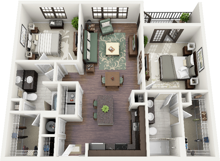 50 Plans 3D dappartement avec 2 chambres Bedroom apartment