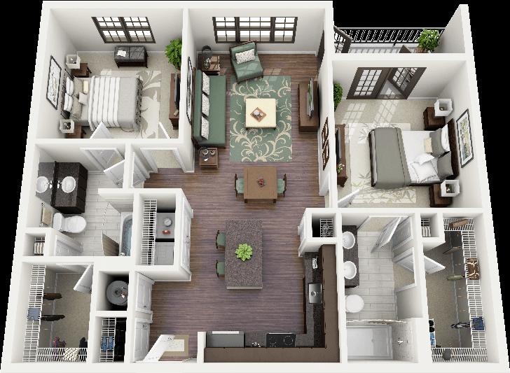 3d 2 Bedroom Apartment Floor Plans Pdtkqnpqb 728