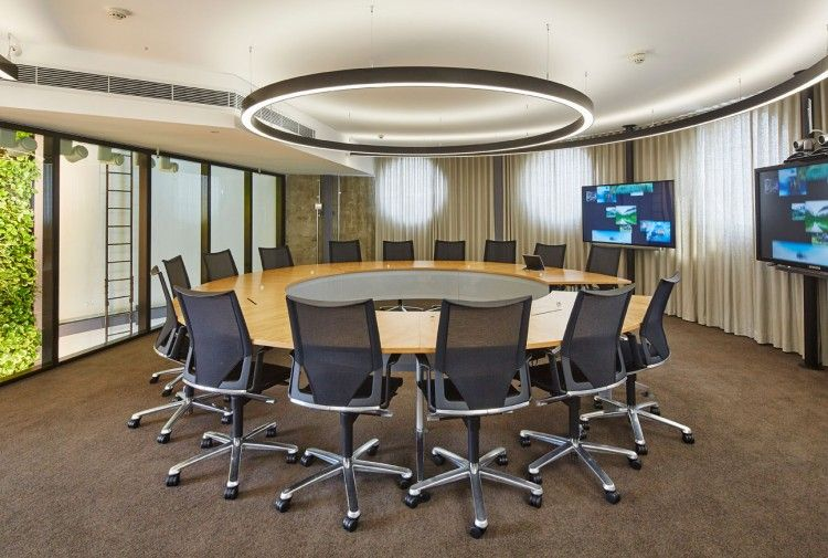 Genesis Care The Mill Alexandria Modern Office Interiors Round Conference Table Meeting Room Design