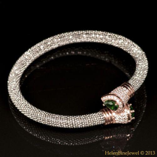 Bracelet Tear Drop Shape Emerald Color 925 Sterling Silver