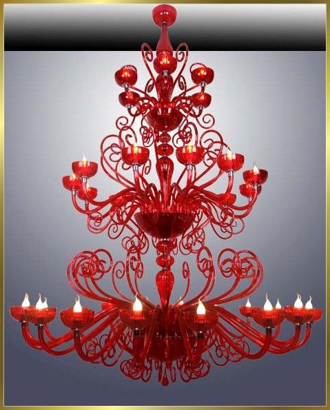 Red chandolier is charming and would look great anywhere of course with some touches of red