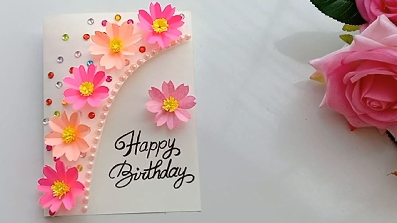Flowers Made With Post It Notes Beautiful Handmade Birthday Card