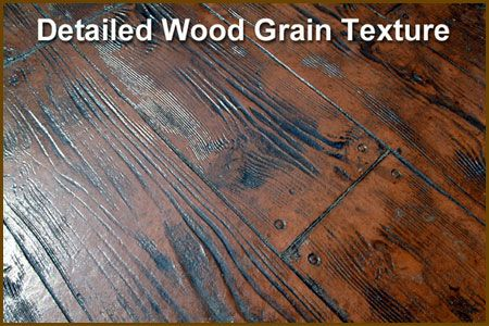 Wood grain stamped and coloured concrete yard for Hardwood floor concrete stamp