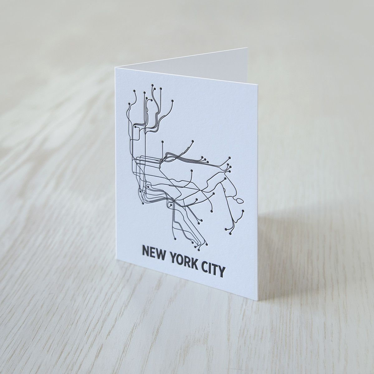 Great design on Reich Paper SAVOY 100% cotton tree free paper. Great for designers, stationers and letterpress. Many cities to choose from too. NYC Notecard – LinePosters