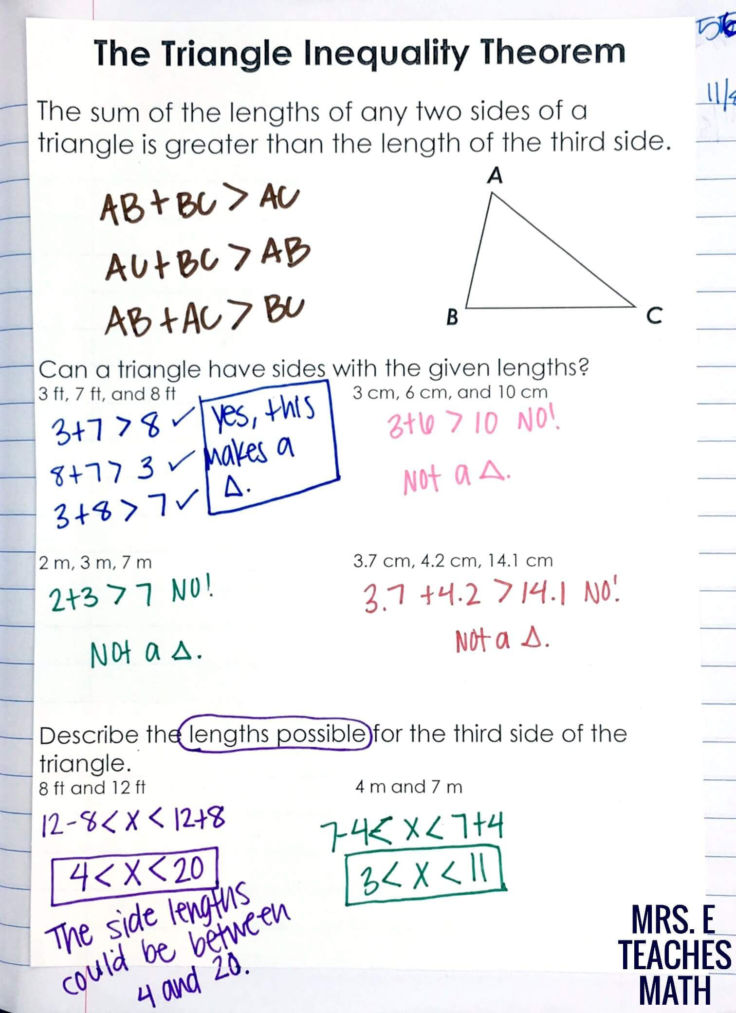 Relationships in Triangles INB Pages – Triangle Inequalities Worksheet