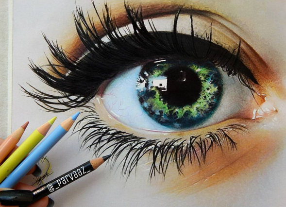 Stunning Colored Pencils Drawing Works By Parvaaz Crafting Timeout Eye Art Color Pencil Drawing Pencil Drawings