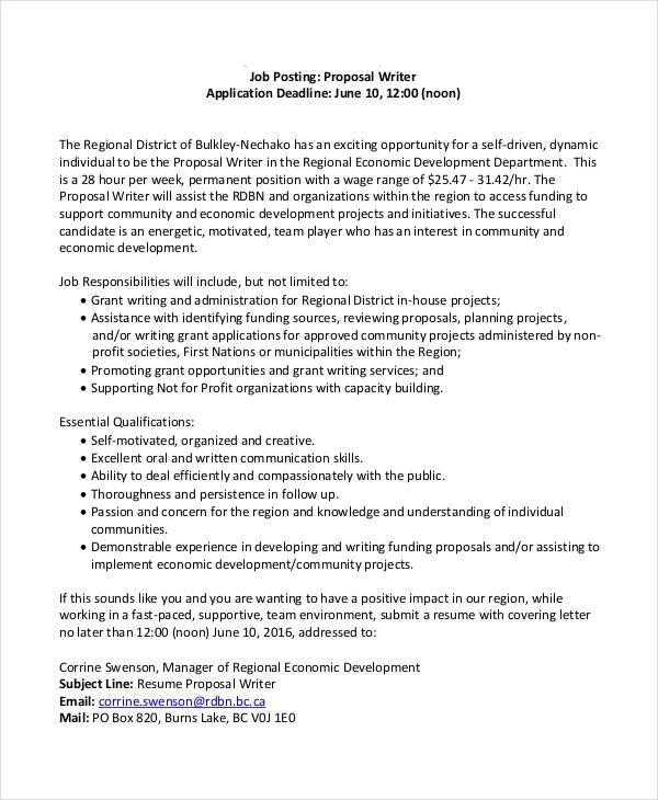 12+ Job Proposal Templates Free Printable Word & PDF
