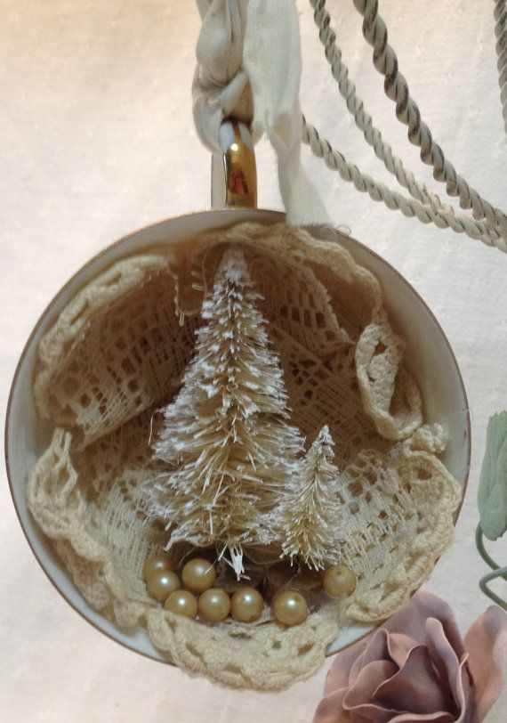 christmas ornament vintage shabby chic by tatteredhankie on etsy - Handmade Shabby Chic Christmas Decorations