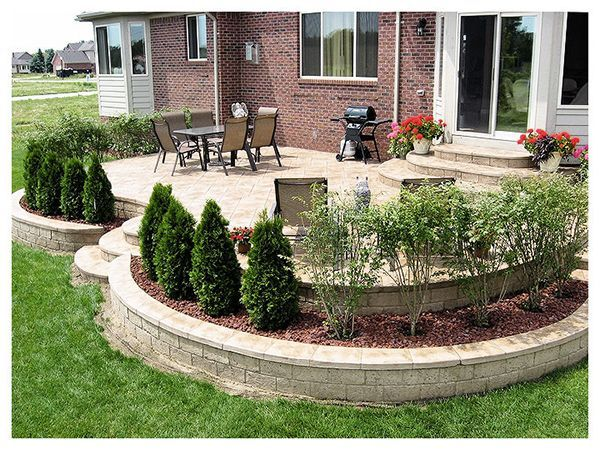 Stamped Concrete Patios Elevated Patio With Retaining Walls Ruggero Cement Macomb Mi Is Creative Inspiration For Us Patio Landscaping Backyard Patio Backyard