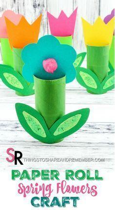 Papierrolle Frühlingsblumen Handwerk >> Papierhandtuch (Toilettenpapierrolle) ist all Blumen Malen DIY