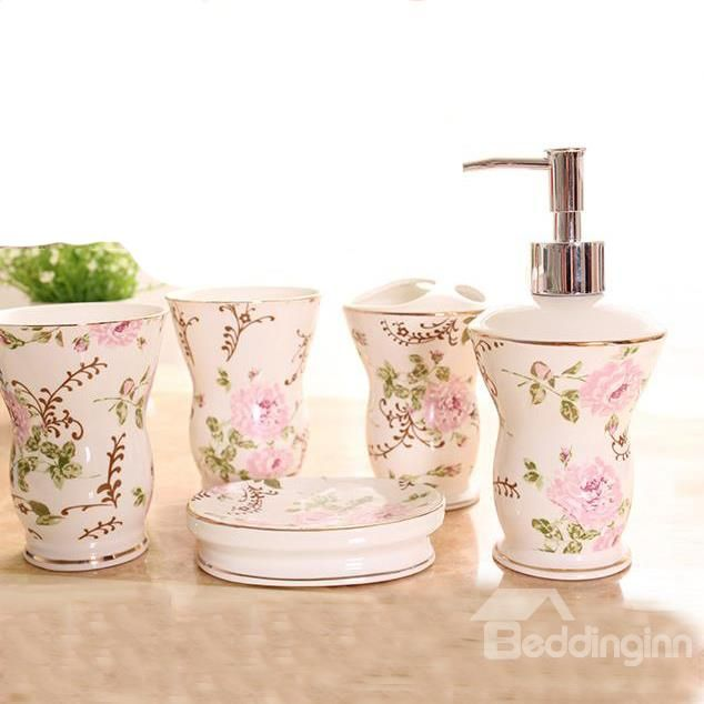 Pretty Romantic Floral European Style 5 Piece Bathroom Accessories On Sale Buy Retail Price Bath With Images Modern Toothbrush Holders Bathroom Sets Bathroom Accessories