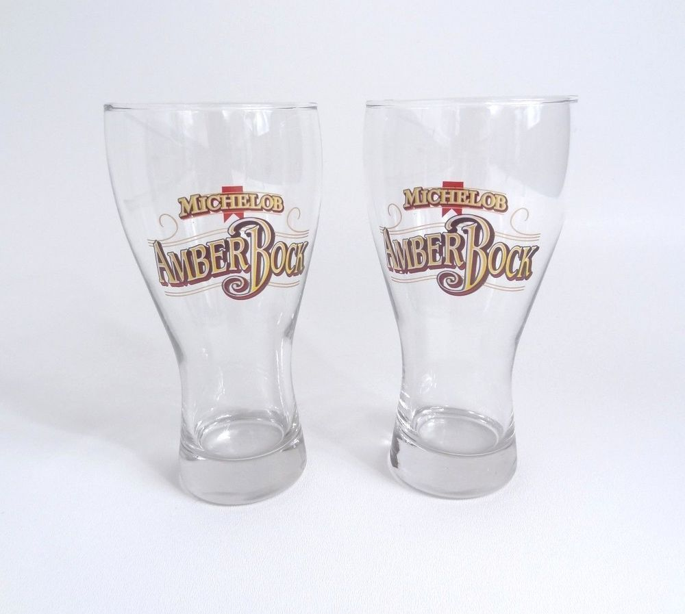 Set Of 2 Michelob Amber Bock Pint Beer Glasses Pub Bar Brewery