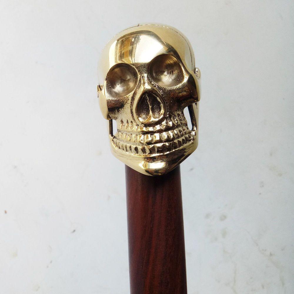 Solid Brass Skull Head Design Handle For Walking Stick Canes Shaft VINTAGE New
