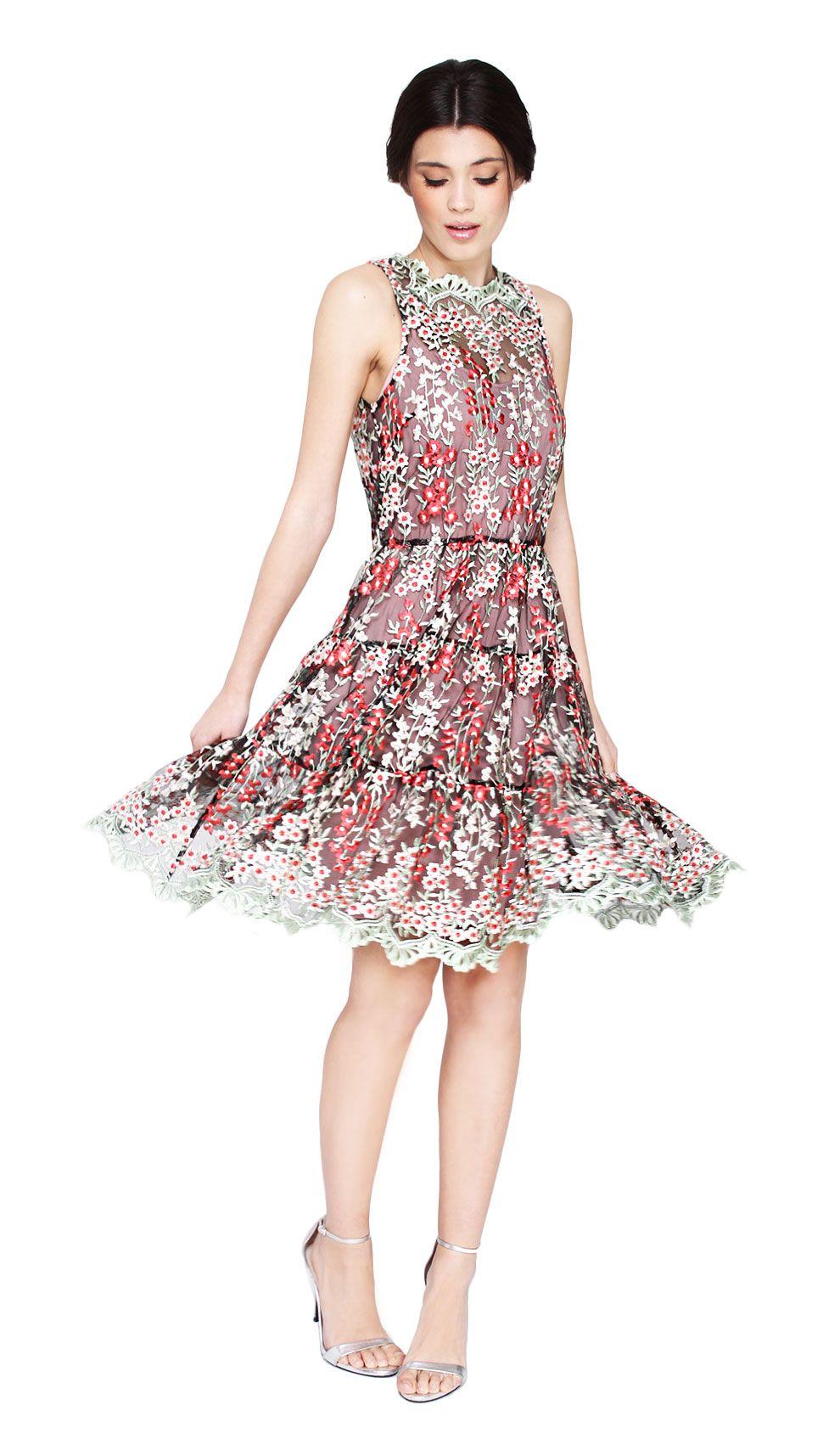 Erin Fetherston Bouquet Embroidered Cocktail Dress Designer Dress