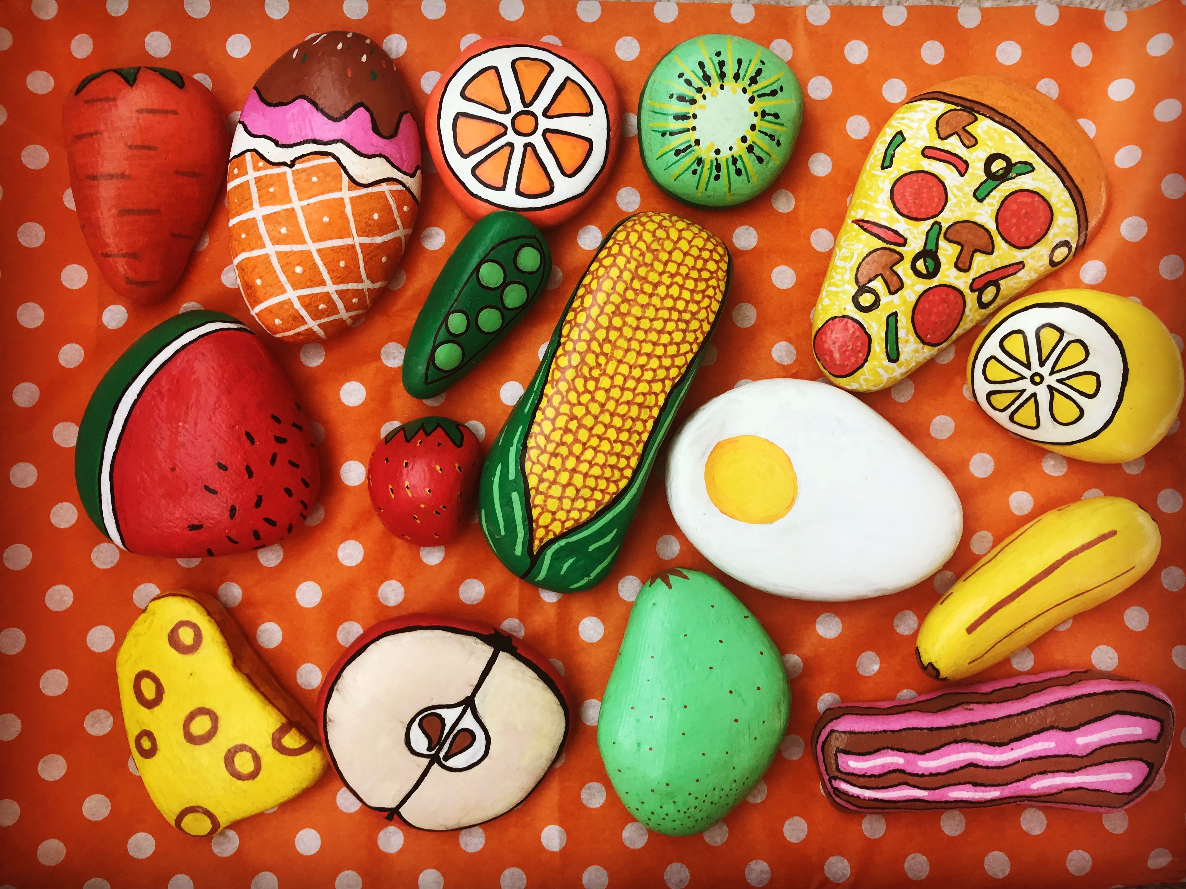 Mud kitchen pretend play food made using hand painted stones | Mud ...