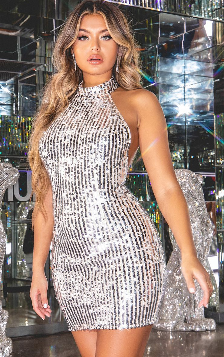 58951bacf3d9 Silver Sequin High Neck Bodycon Dress | PrettyLittleThing USA -women's  going out dresses -party dress -sparkle like you mean it -fashion -outfit  inspiration ...