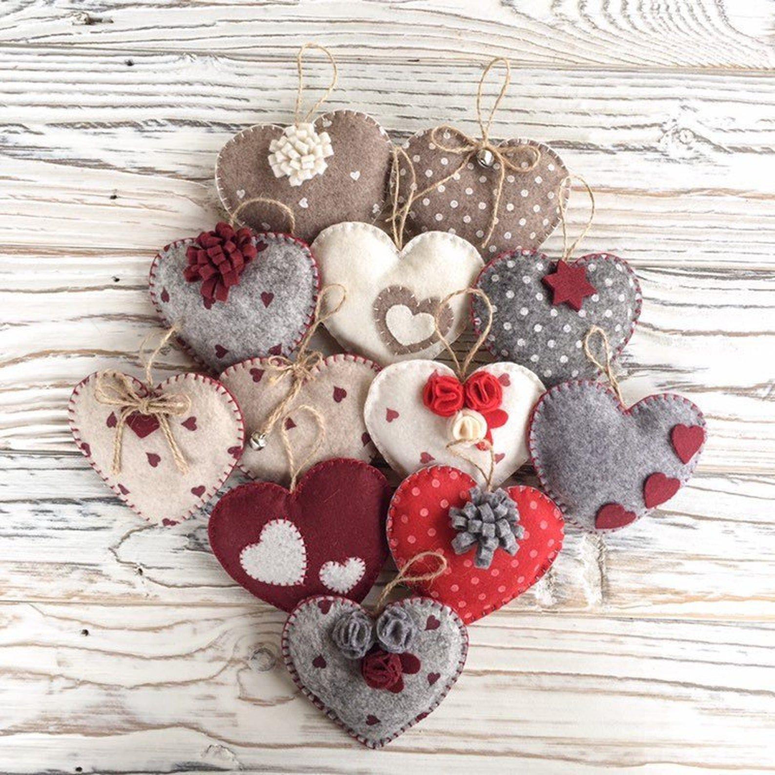 1 To 10 Handmade Felt Heart Ornaments Of Your Choice Etsy Felt Christmas Ornaments Handmade Felt Ornament Handmade Felt