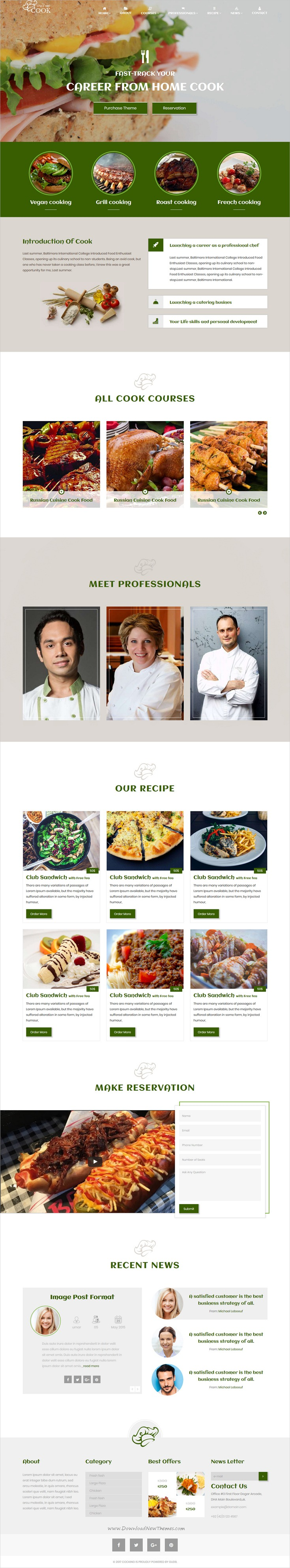 Cooking Restaurant, Food & Cafe Bootstrap Template | Cooking ...