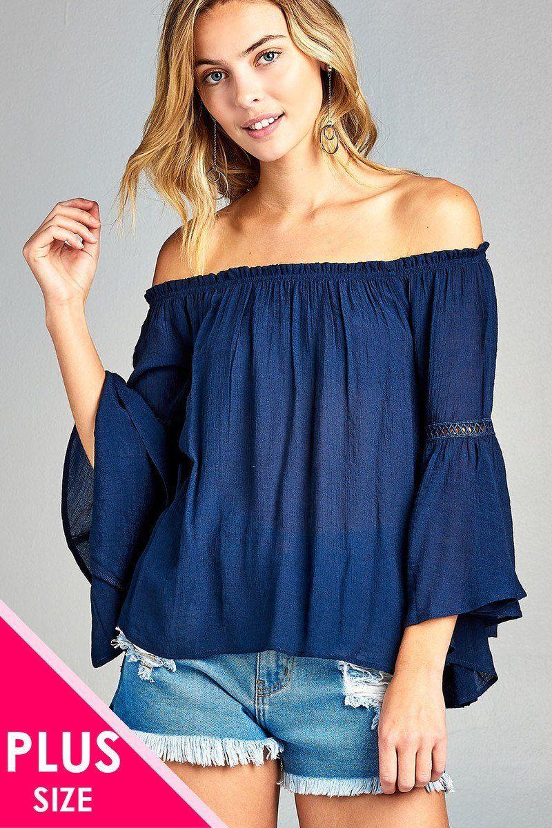4f0d2982500e8 Ladies plus size 3 4 bell sleeve lace trim off shoulder Women s blouse top  shirt