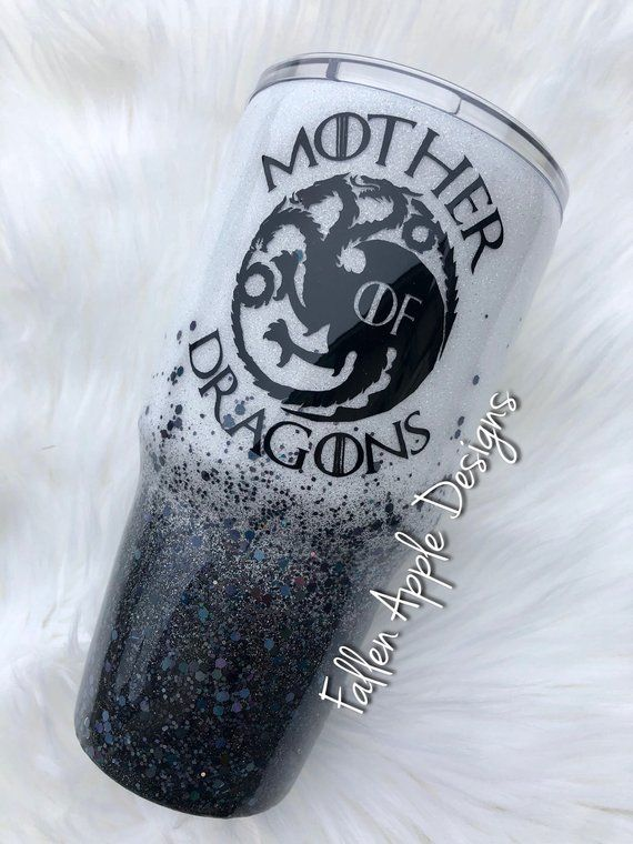 d6388feac86 White to Black Glitter Ombré Personalized Tumbler - YETI - Stemless Wine Cup