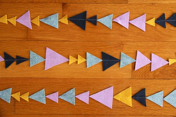 no 8 geometric triangle bunting in navy mustard by iviemade, $22.00