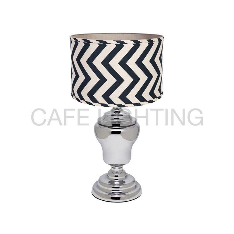 Cafe Lighting 57cm Murdoch Chevron Table Lamp Lamps White Lamp Shade Table Lamp Lamp Bases