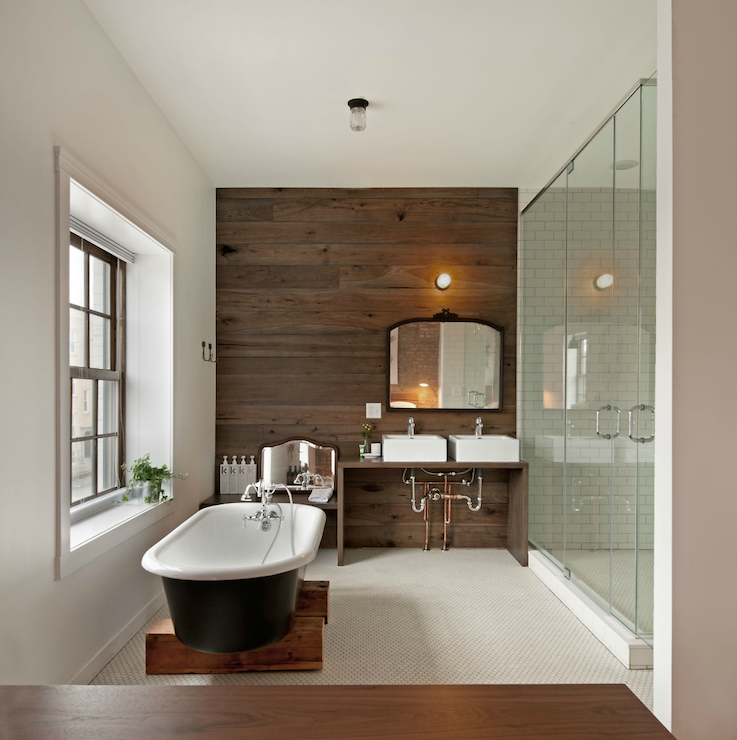 16 Marvelous Bathroom Designs With Wooden Wall That Abound With Elegance Warmth Wood Wall Bathroom Tile Accent Wall Bathroom Bathroom Accent Wall