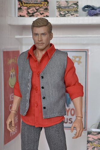 1/ 6 scale figure in custom shirt and vest with real button closure