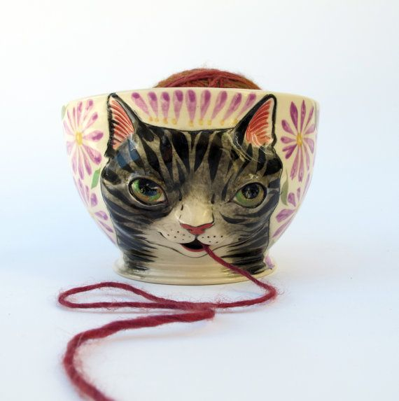 Gray Tabby Cat Yarn Bowl Knitting Bowl Knitting Bowl Yarn Bowl Grey Tabby Cats