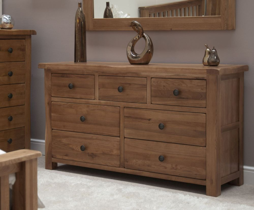 Homestyle Gb Rustic Oak 4 3 Drawer Multi Chest Solid Oak Furniture