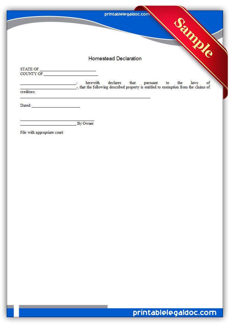Free Printable Homestead Declaration  Sample Printable Legal