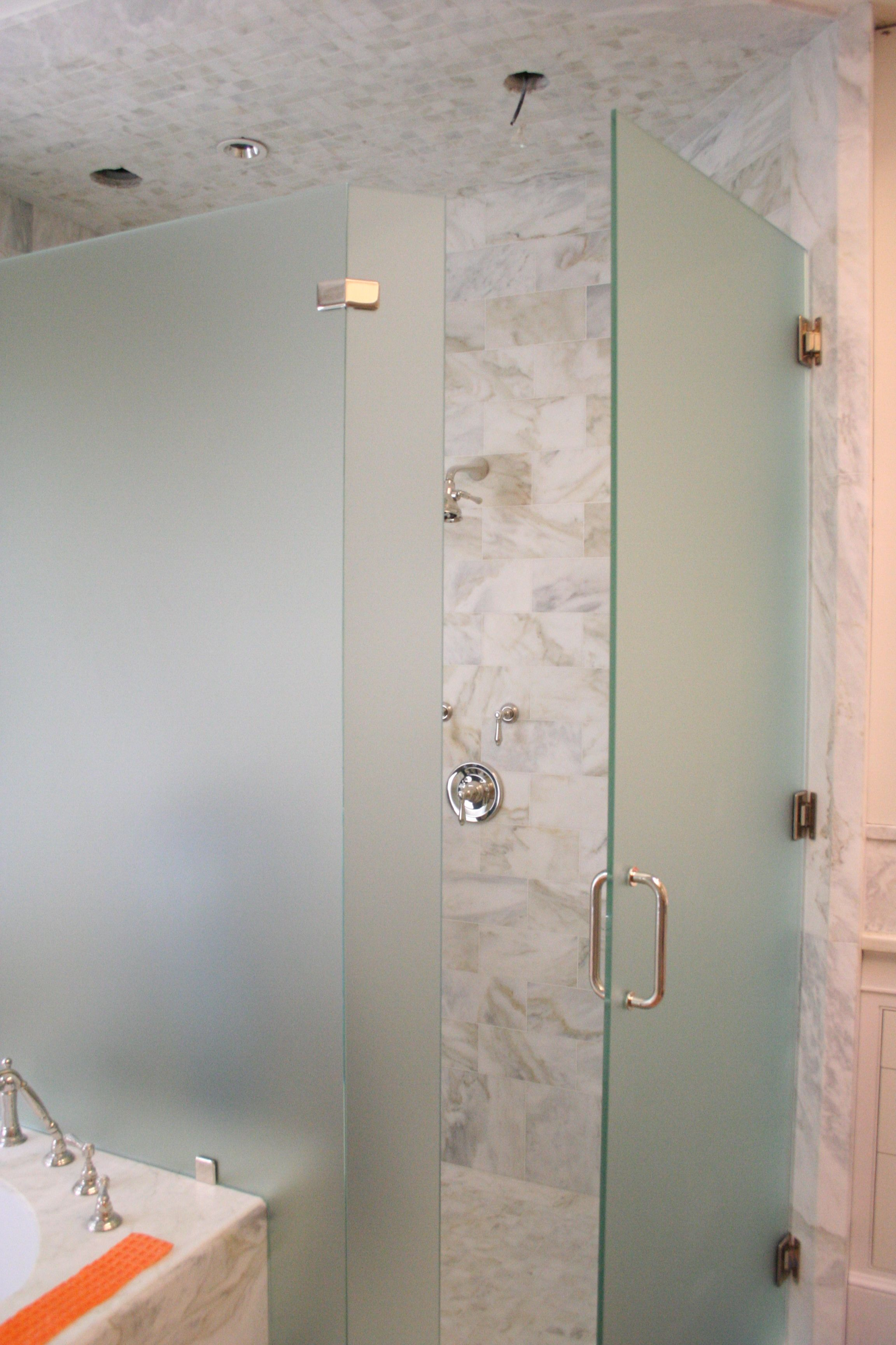 Seamless Etched Shower Shower Satin Etched And Low Iron