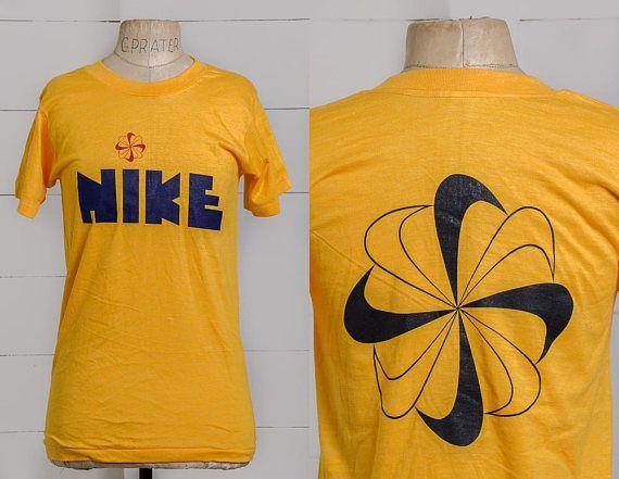 2b0f02ffed7c 70s NIKE Pinwheel Block Letter T Shirt Rare Deadstock