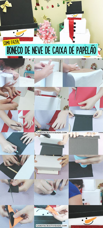 Adesivo De Nuvens Parede ~ Como fazer boneco de neve com caixas de papel u00e3o DIY Natal