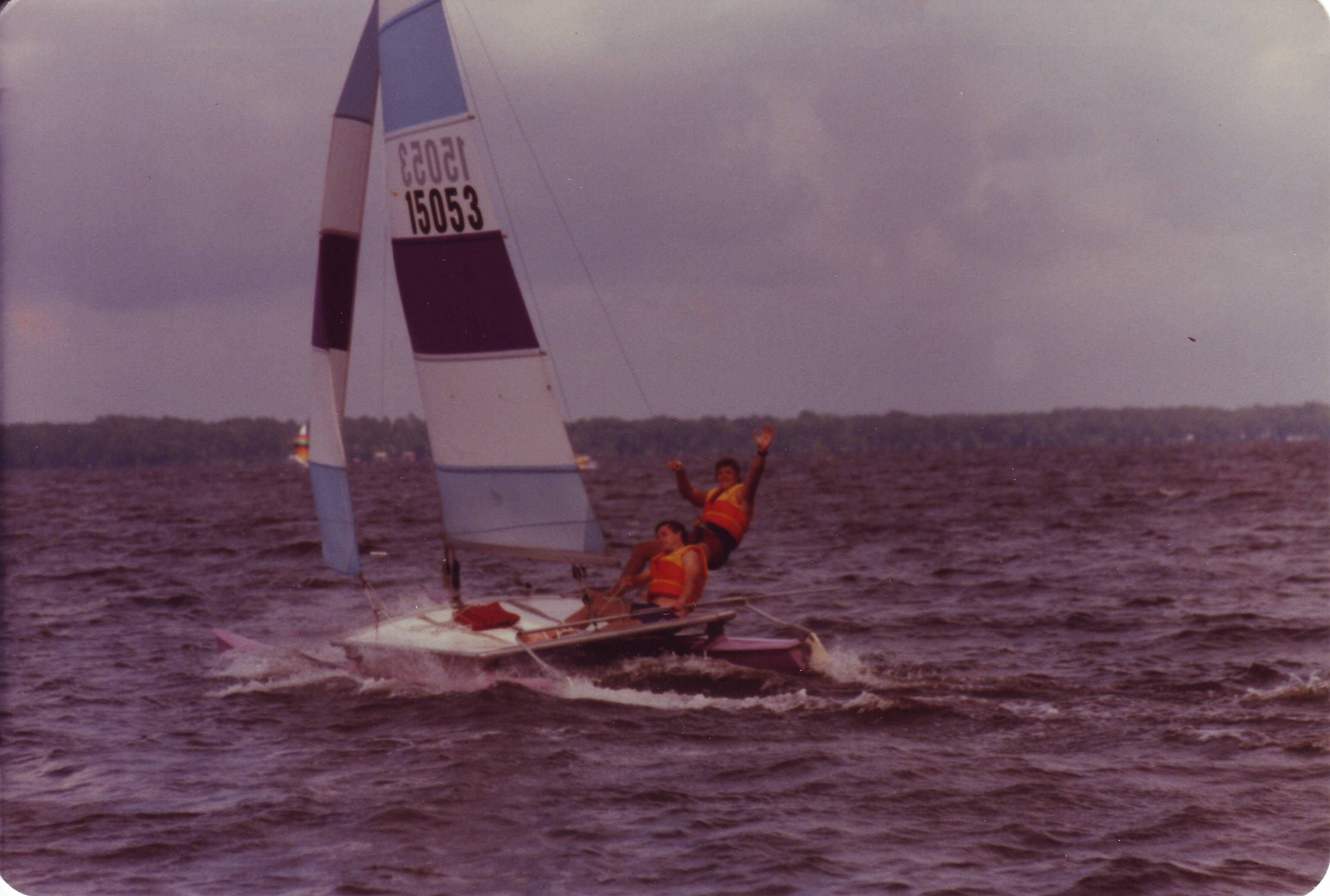 Our Hobie Cat When First Married Catamaran Picture Day Boat City mountains dock sail boat yacht