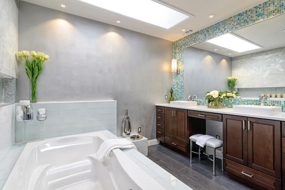 This beautiful master bathroom is a spa like