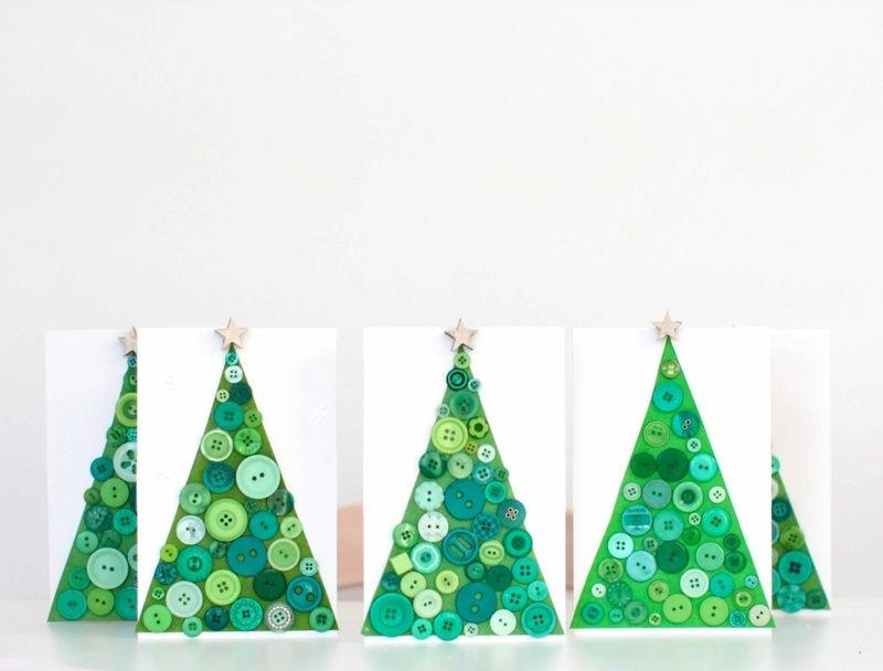 Weihnachtskarten Originelle Ideen.Weihnachtskarte Mit Knöpfen Gestalten Originelle Idee Witzige