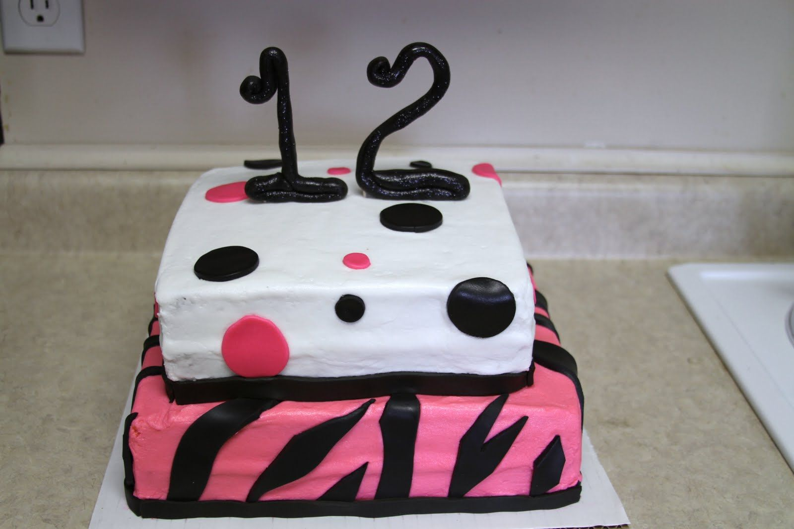 Zebra Poka Dot 12th Birthday Cake 12th Birthday Cake Cake