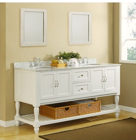 White Mission Style Open Shelf Bathroom Vanity With Carrara Marble