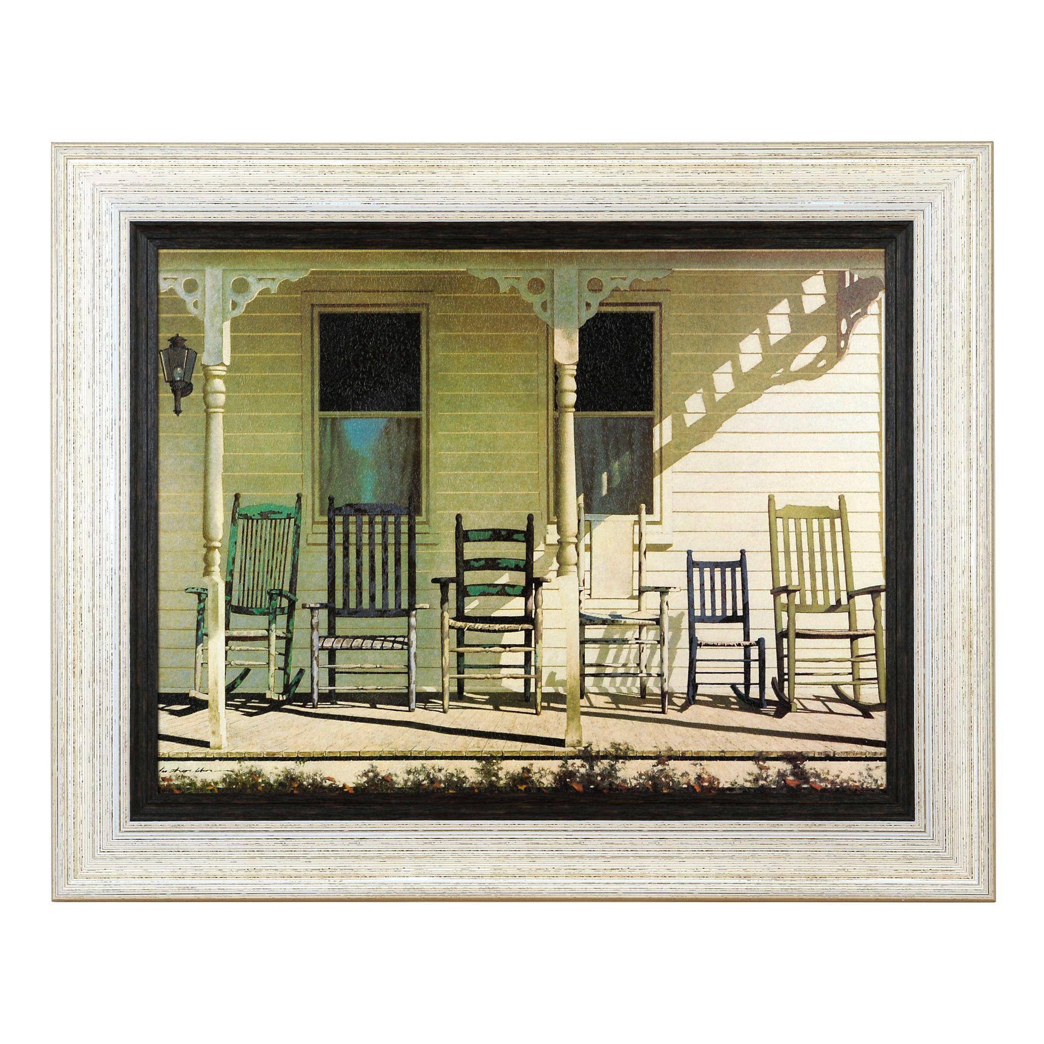 Farmhouse Family Rocking Chairs Framed Art Print | Pinterest ...