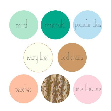 Colors That Go With Light Blue Mint Emerald Powder Peach Pink Also Plum Grey Silver And White Instead Of Gold Ivory