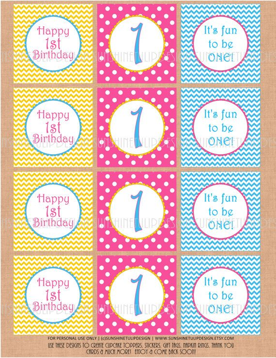 Printable 1st Birthday DIY Party Tags and Cupcake Toppers by