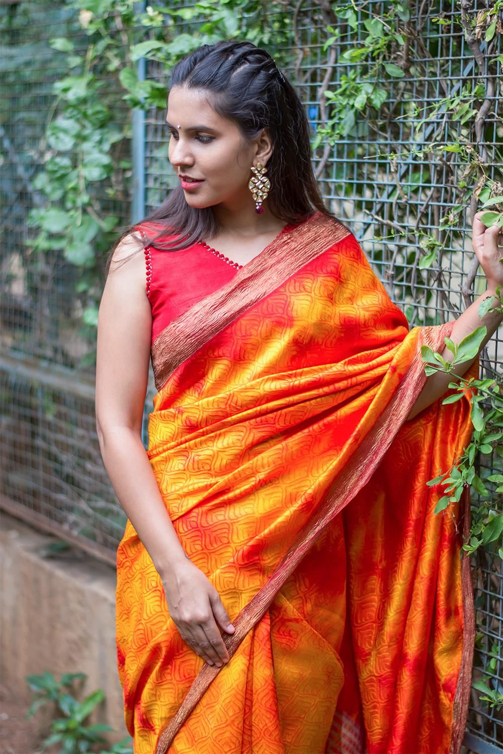 6e0388c459e3c3 Self embossed orange and red dupion silk saree with crushed tissue border # saree #blouse #houseofblouse #indian #bollywood #style #orange #red #yellow  ...