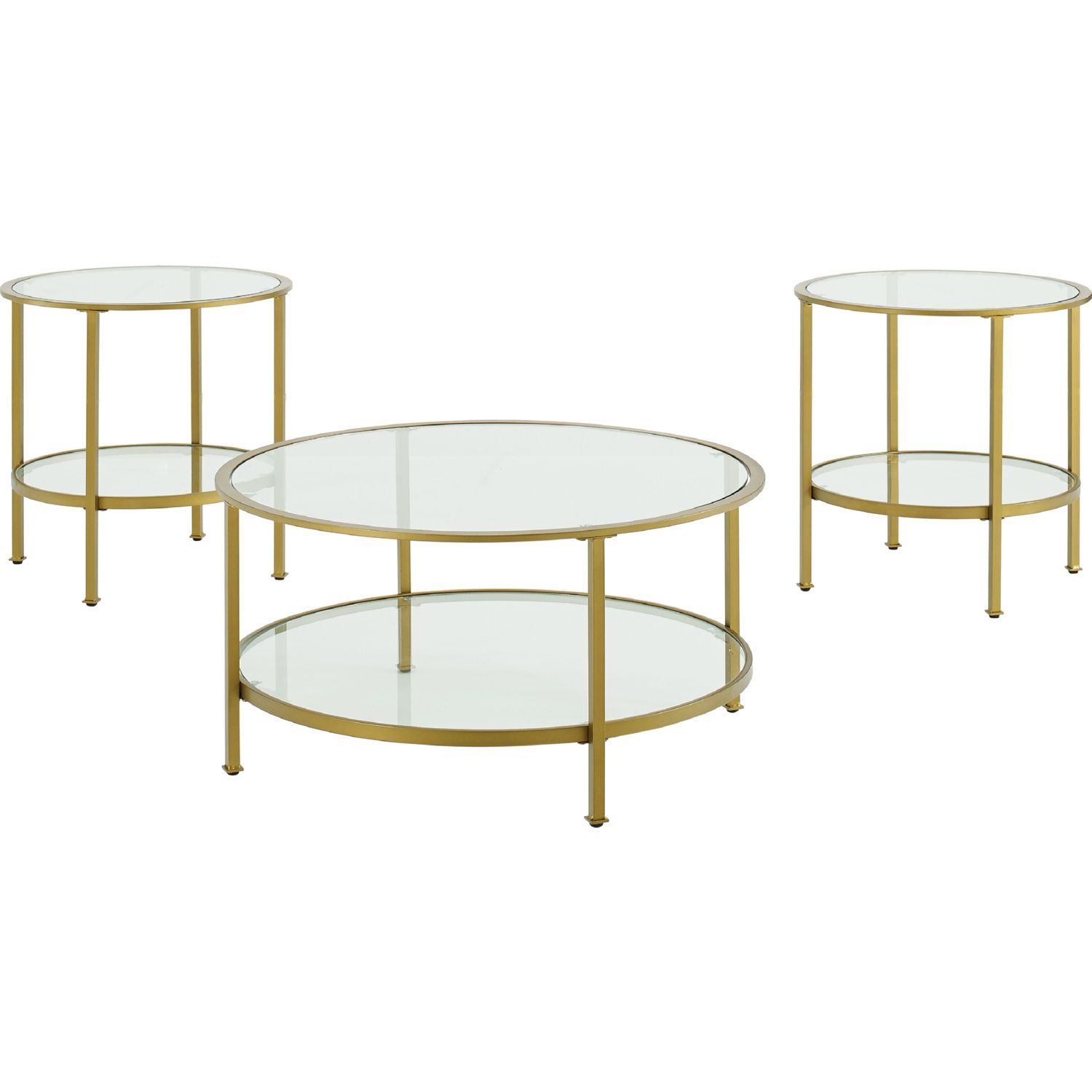 Aimee 3 Piece Coffee 2 Side Tables Set In Gold Glass By