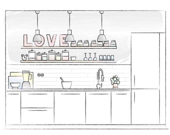 God plan på et lite kjøkken. Med øy og gammelt skap som en del av oppbevaringen