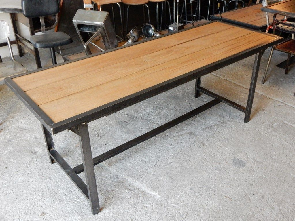 Table Bois Fer Design Table Militaire Fer Et Bois Geo Nancy Design Industrial